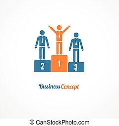 vecteur, business, symbole, illustration, podium, vainqueurs