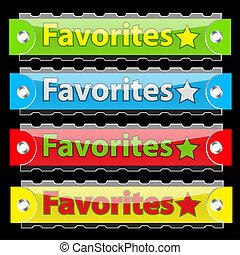 vecteur, buttons., étiquette, lustré, favorites