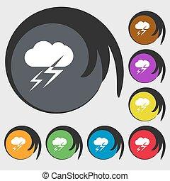 vecteur, buttons., coloré, signe., symboles, temps, huit, icône