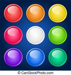 vecteur, buttons., ensemble, coloré