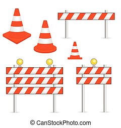vecteur, cônes, illustration, signe, avertissement, trafic