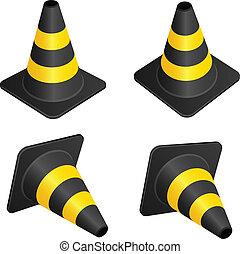 vecteur, cônes trafic