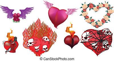 vecteur, cœurs, 2, ensemble