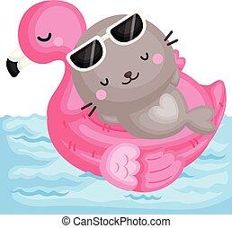 vecteur, cachet, sommet, peu, mignon, flamant rose, rose, flotteur, piscine, délassant