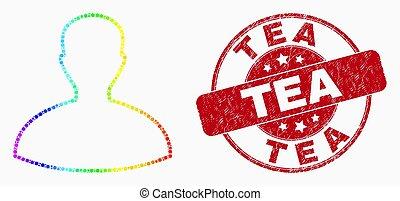 vecteur, cachet, timbre, point, arc-en-ciel, icône, personne, détresse, thé, coloré