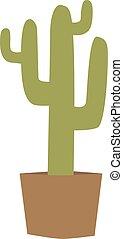 vecteur, cactus, isolé, illustration.