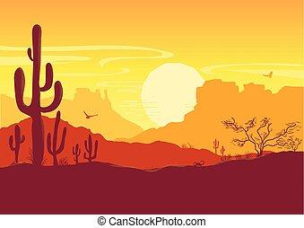 vecteur, cactus, ouest, sauvage, américain, prairie, texas, soleil, desert., paysage