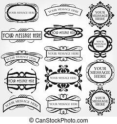 vecteur, cadre, ensemble, décoratif, vendange
