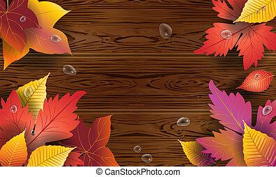vecteur, cadre, feuilles, bois, fond, automne, érable