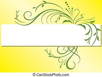 vecteur, cadre, flore, jaune