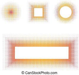 vecteur, cadre, halftone, coloré, texte