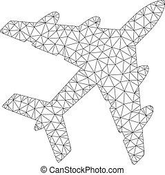 vecteur, cadre, illustration, polygonal, maille, bombardier