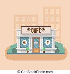 vecteur, café, illustration, bâtiment.