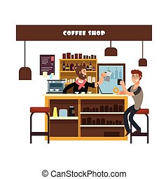 vecteur, café, illustration, fonctionnement, homme