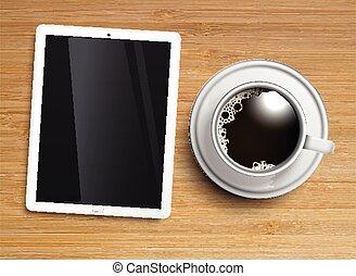 vecteur, café, tablette, tasse