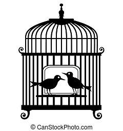 vecteur, cage d'oiseaux