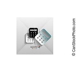 vecteur, calculatrice, papier, conception, icône, 3d
