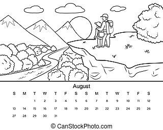 vecteur, calendrier, livre coloration, illustration