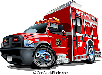 vecteur, camion, dessin animé, secours