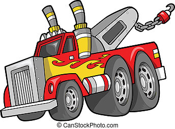 vecteur, camion, remorquage, illustration