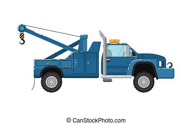 vecteur, camion, remorquage, illustration, isolé