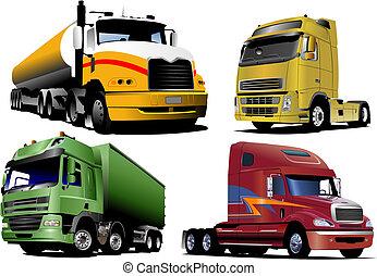 vecteur, camions, quatre, illustration, road.