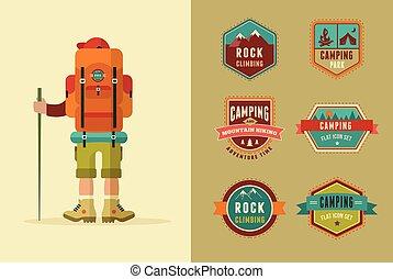vecteur, camp, elements., icônes, affiche, randonnée, -, randonneur, ensemble, insignes