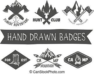 vecteur, camp, ensemble, éléments, vendange, étiquettes, icônes, isolé, main, emblèmes, logo, conception, forêt, fond, dessiné, blanc, style., insignes