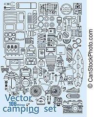 vecteur, camping, ensemble, icônes