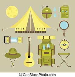 vecteur, camping, icônes