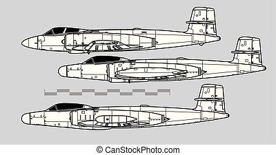 vecteur, canuck., avro, dessin, canada, contour, cf-100