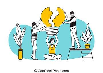 vecteur, caractères affaires, collaboration, dessin animé, association, puzzle, bâtiment, cooperation., montage, éléments, concept., gens, carrière