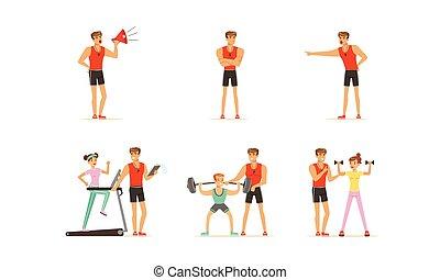 vecteur, caractères, ensemble, gens, gymnase, portion, personnel, illustrations, entraîneur, formation