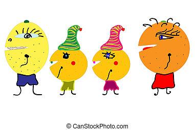 vecteur, caractères, fruit, heureux