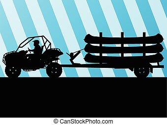 vecteur, caravane bateau, canoë