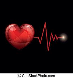 vecteur, cardiaque, fréquence