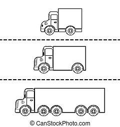 vecteur, cargaison, ensemble, illustration, camions