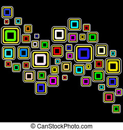 vecteur, carrés, fond