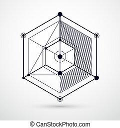 vecteur, carrés, isométrique, cube, disposition, linéaire, elements., formes, résumé, différent, dimensionnel, maille, noir, hexagones, fond, cubes, blanc, rectangles, 3d
