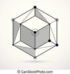 vecteur, carrés, isométrique, cube, disposition, linéaire, ...