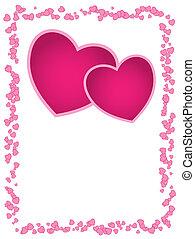 vecteur, carte, à, rose, cœurs, et, espace vide, pour, salutation, mariage, anniversaire, ou, valentine\'s, day.