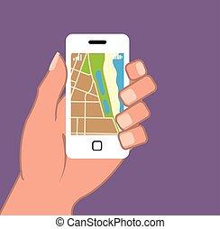 vecteur, carte, app, smartphone