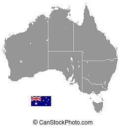 vecteur, carte, australie, politique, gris