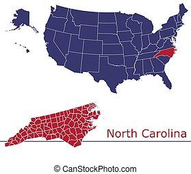 vecteur, carte, caroline, nord, comtés
