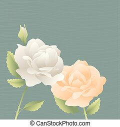 vecteur, carte, décoratif, roses