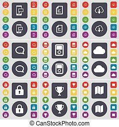 vecteur, carte, ensemble, tasse, bulle, icône, texte, sms, symbole., joueur, boutons, nuage, grand, plat, serrure, bavarder, design., fichier, ton, coloré