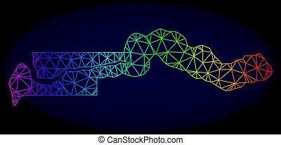 vecteur, carte, fil, gambie, cadre, spectre, polygonal, maille