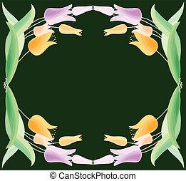 vecteur, carte, floral, tas, tulipes, salutation, cadre, délicat