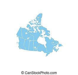 vecteur, carte, illustration., etats, frontière, canada, map.
