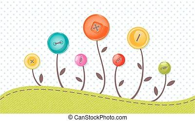vecteur, carte voeux, à, mignon, flowers., parfait, pour, douche bébé, anniversaire, et, autre, events.